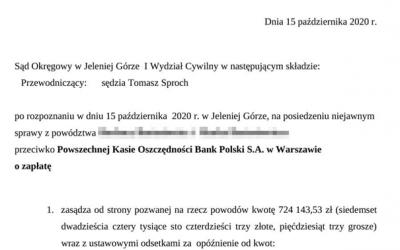 Unieważnienie umowy PKO BP i wygrana 724.143,53 zł !
